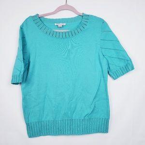 Vtg Pendleton knit teal blouse Size Large EUC